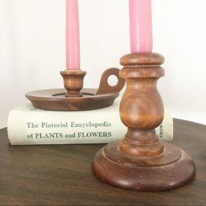 Vintage Wooden Candlestick Holder Set